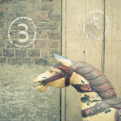 Neigh. (_cassia_) Tags: wood old red brown white 3 yellow wall vintage 5 circles bricks cream numbers carouselhorse
