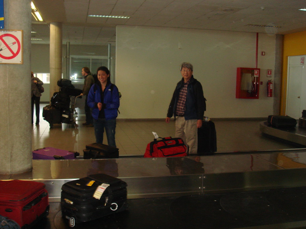 Waiting for luggage at the Punta Arenas airport