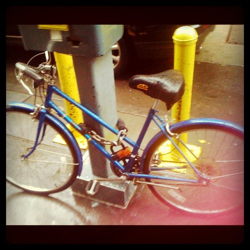 Pretty sure this is Bill Cunningham's bicycle locked up outside NYT