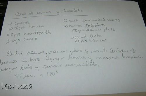 Cake de moras y choco-receta