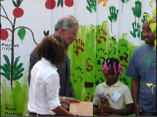 HRH Prince Charles with kids at Common Good City Farm (by: LeDroit Park Civic Association)