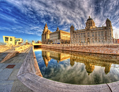 Pier Head,Liverpool ,(colour version) (Hazeldon73- catching up !) Tags: heritage port liverpool buildings reflections canal waterfront full fisheye frame 8mm liver hdr pierhead merseyside flickraward mygearandme ringexcellence dblringexcellence