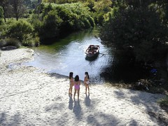 THE GIRLS AT THE RIVER (dimitra_milaiou) Tags: life pink shadow summer people tree love beach nature water colors girl river landscape boats island sand europe paradise village view sony hellas happiness visit greece planet summertime emotions andros cyclades dimitra dscp93a fantasticnature stenies gyalia   steniaes milaiou