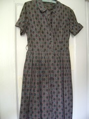 50s/60s cotton day dress SM (vintagevixxen) Tags: nyc blue brown floral vintage 60s dress antique 50s printed