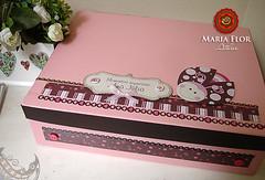 Caixa para o lbum (mariafloratelier2) Tags: baby scrapbook beb scrap presente marromcomrosa