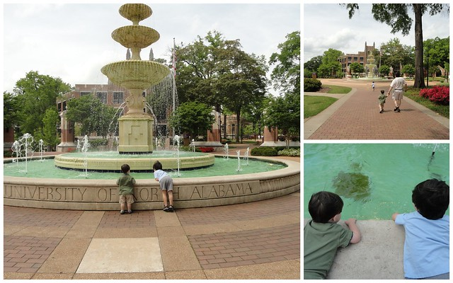 Boys at UNA Fountain