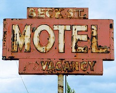 Beck Street Motel (Roadside Gallery) Tags: auto old travel sky signs cars abandoned car truck vintage outside hotel rust automobile neon decay antiquecar country rusty motel retro forgotten signage oxidation americana weathered roadside oldcar crusty corrosion corroded motelsign hotelmotel vintageneon vintagemotels beckstreetmotel motelsold roadsidegallery