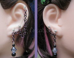 Purple and black cartilage chain earrings