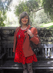 Botanical Gardens (justplainrachel) Tags: red smile tv rachel dress cd silk tights tgirl jacket transvestite crossdresser patterned minidress justplainrachel
