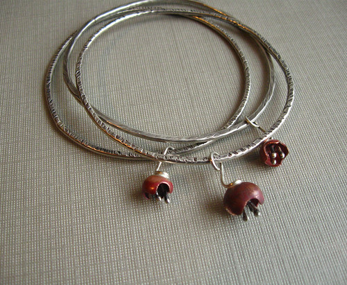 Urban Beautification - Sterling Silver and Copper Bell Flower Bangles