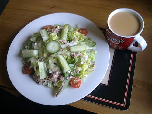 Tuna and feta salad, with tea