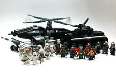 Faction Action Complete, Sorta. (Lego Junkie.) Tags: war tank lego action battle them jaguar ba inane heavy skyhawk lots figs prototypes amounts protos faction of brickarms