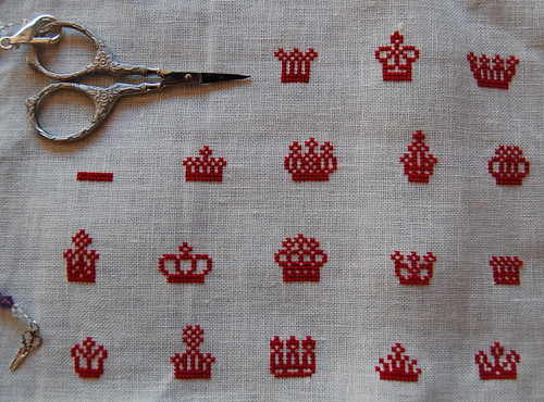 The Queen's Crowns (Plum Street Samplers) - in progress