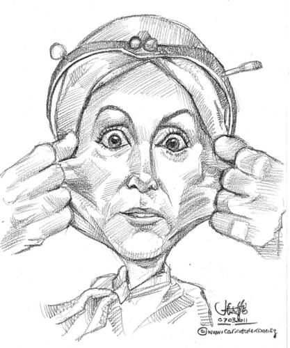 stretch the skin caricature