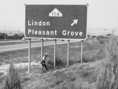 northbound I-15 at 1600 North (Orem), early 1970s (CountyLemonade) Tags: sign utah freeway 1960s exit i15 trimmer lindon interstate15 pleasantgrove buttoncopy biggreensign