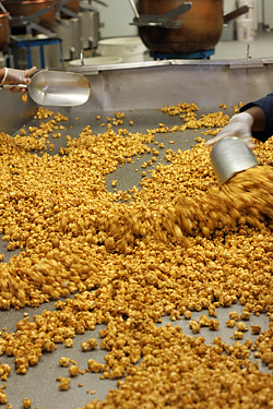 mixing up caramel corn