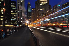 Trailblazing on DuSable Bridge (Explored!) (Seth Oliver Photographic Art) Tags: chicago illinois nikon midwest skyscrapers cityscapes nightshots lighttrails bluehour michiganavenue chicagoriver chicagoatni