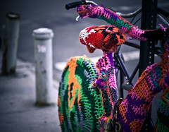 (pamela ross) Tags: street usa newyork bike bicycle brooklyn america pen 50mm unitedstates crochet olympus ep1