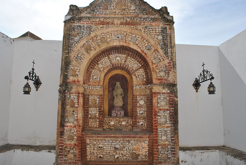 Human skull shrine in Faro, Portugal