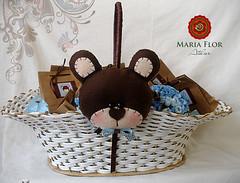 Cesta Urso (mariafloratelier2) Tags: bear urso chdefralda marromcomazul brownandblu