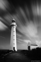 Lighthouse - Point Lowly (-yury-) Tags: longexposure blackandwhite bw lighthouse clouds landscape southaustralia whyalla pointlowly