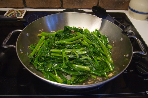 Add Gailan Leaves and Soy Sauce
