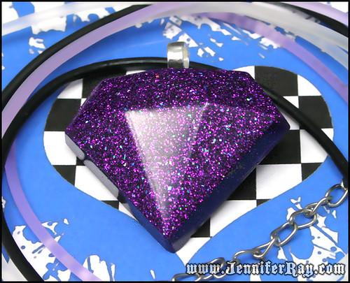 Velvet Purple Diamond - Faux Bling Resin Necklace by JenniferRay.com