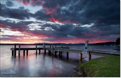 far away pink sky (liipgloss) Tags: longexposure sunset lake clouds jetty australia nsw lakemacquarie squidsink