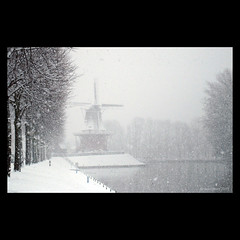 My Hometown (Monochrome Visions) Tags: trees winter snow windmill snowflakes canal sneeuw nederland thenetherlands friesland molen wieken gracht dokkum sneeuwvlokken bolwerk dexodexo douwedijkstra