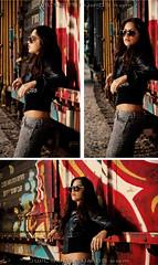 Kathy  HENSE MSK (*Arcade) Tags: hot sexy girl sunglasses canon graffiti model highheels trains jeans msk cuban leatherjacket hense freights onelight modelphotography strobist
