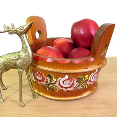 Bavarian Tole Painted Bucket - Vintage (TipsyTimeMachine) Tags: wood vintage wooden bucket folkart container german handpainted tole stave pail bavarian fruitbowl handcarved chaletchic tipsytimemachine