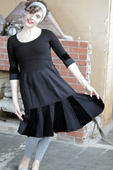 """""""page 24: picnic, lightning"""" dress (Secret Lentil) Tags: black clothing artist dress recycled clothes petite sculpted ecofriendly deconstructed reconstructed helencarter"""