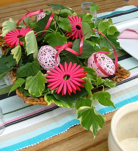 tablescape pink eggs & gerbera
