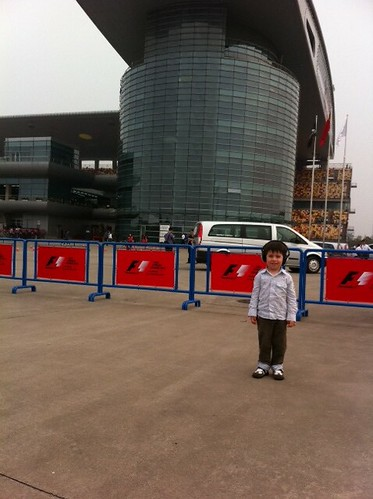 Scott at the entrance to the Shanghai Formula One paddock club