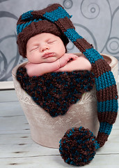 baby elf hat boy girl brown blue teal stripes (Ava Girl Designs) Tags: blue brown teal stripes elfhat babyphotographyprop newbornknittedphotoprop