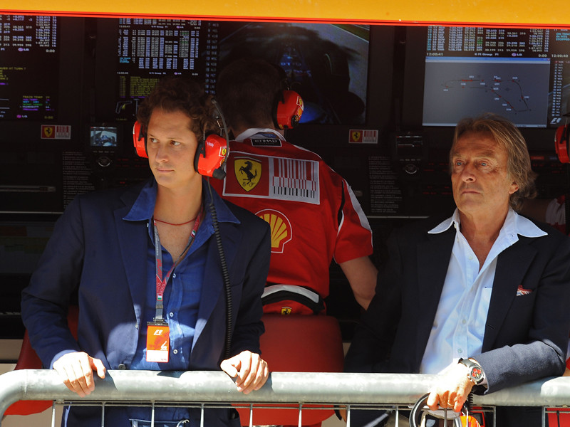 With Luca Cordero di Montezemolo at Ferrari's box
