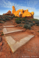 Ascent to Turret Arch (James Neeley) Tags: sunrise landscape utah arches archesnationalpark hdr turretarch 5xp jamesneeley windowsdistrict