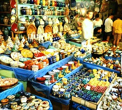 Pots and Plates, Marrakesh, 1995 (ronramstew) Tags: ceramica shop ceramic market northafrica stall pots mercado morocco maroc marrakech souk vendor plates marrakesh 1995 marruecos mercato 1990s marche marokko lemaroc marraksh