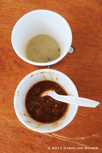 Potato-leek soup and chili con carne from Eastside Cafe