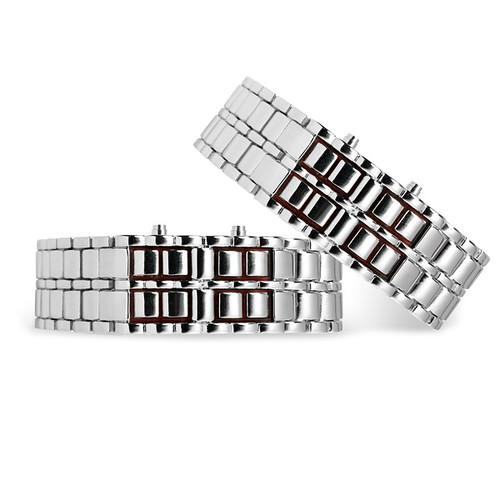 New Men's Stainless Steel Chain LED Wrist Watch Silver