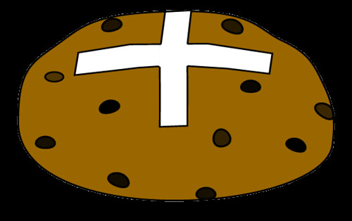 hot cross bun clipart, 9 cm wide