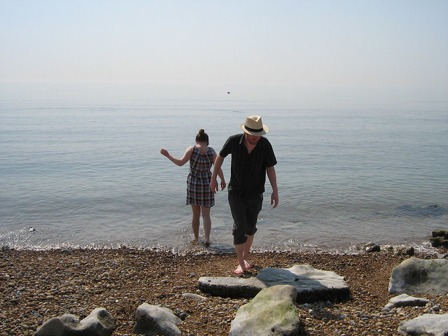 Vic and Mr S on Sandgate beach