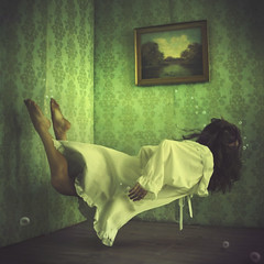 a home within a house (brookeshaden) Tags: wallpaper water girl swimming picture levitation livingroom workshop brookeshaden