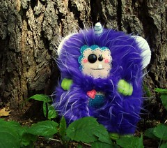 Fluttering Mowmay (Green Elevator) Tags: pink blue cute monster fur rainbow fuzzy handmade crafts magic horns felt ox plush softie stuffedanimal plushie handsewn etsy fleece whimiscal toothysmile fauxfur yearoftheox frenchknots greenelevator wonkeyeyes meganbarbour