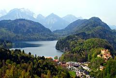 Bavarian landscape (**soniatravel**) Tags: blue trees mountain lake alps green castle tourism nature yellow germany munich landscape bavaria view neuschwanstein hohenschwangau