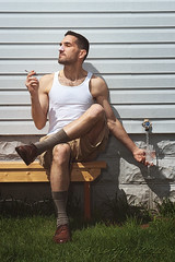 Day 262 of 365 - I Got It Soooo Good... (Andrew Kufahl) Tags: portrait sun selfportrait water glass socks wisconsin bench nikon shoes outdoor cigarette smoke tan smoking sit faucet tanktop 365 tanning lotion waterglass day262 sunning suntanlotion ddp project365 outdoorportrait d700 nikond700 outdoorselfportrait
