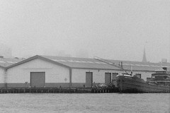Mary A. Whalen (Alexander Rabb) Tags: nyc newyorkcity ny newyork film fog brooklyn boat blackwhite dock waterfront kodak eastriver fed2 fed redhook kodaktrix400 kmz jupiter11  2 11