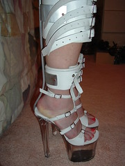 White Night Braces Side View Showing Multiple Straps (KAFOmaker) Tags: sexy leather sex shoe high highheel braces sandals leg platform bondage device strap heel cuff bound buckle brace straps sandal cuffs buckles restraints restraint restrain cuffed strapped strapping anklestrap buckled immobilize legbrace whitenightbraces