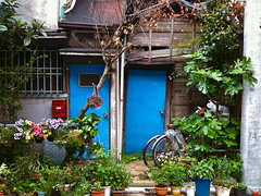 New(er) Blue Doors on an Old Home and it's Store Room in Kawasaki Juku on the Old Tokaido (only1tanuki) Tags: blue home japan japanese pottedplants tokaido kanagawaprefecture kawasakicity oldtokaido kawasakijuku kanagawatokaido