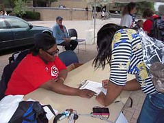 Tomeka Cooley of CWA Local 4322 works a petition drive to overturn Ohio's new anti-union law.